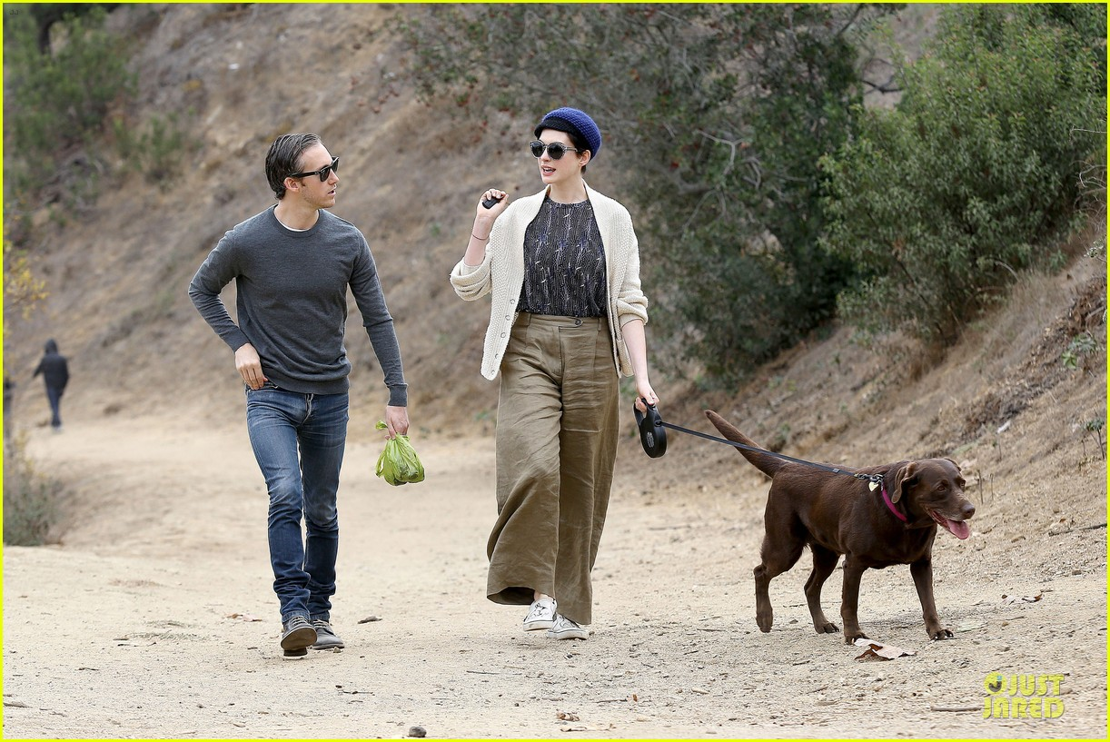 anne hathaway adam shulman hold hands for intimate walk 312994299