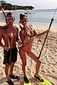 shirtless max george bikini clad nina agdal are a beach couple 01