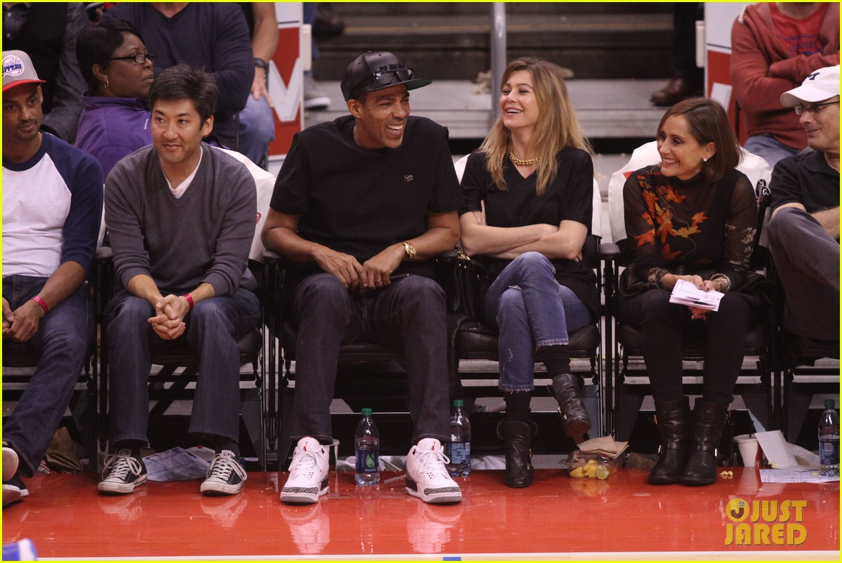 ellen pompeo cheers on the clippers with chris ivery 052995079