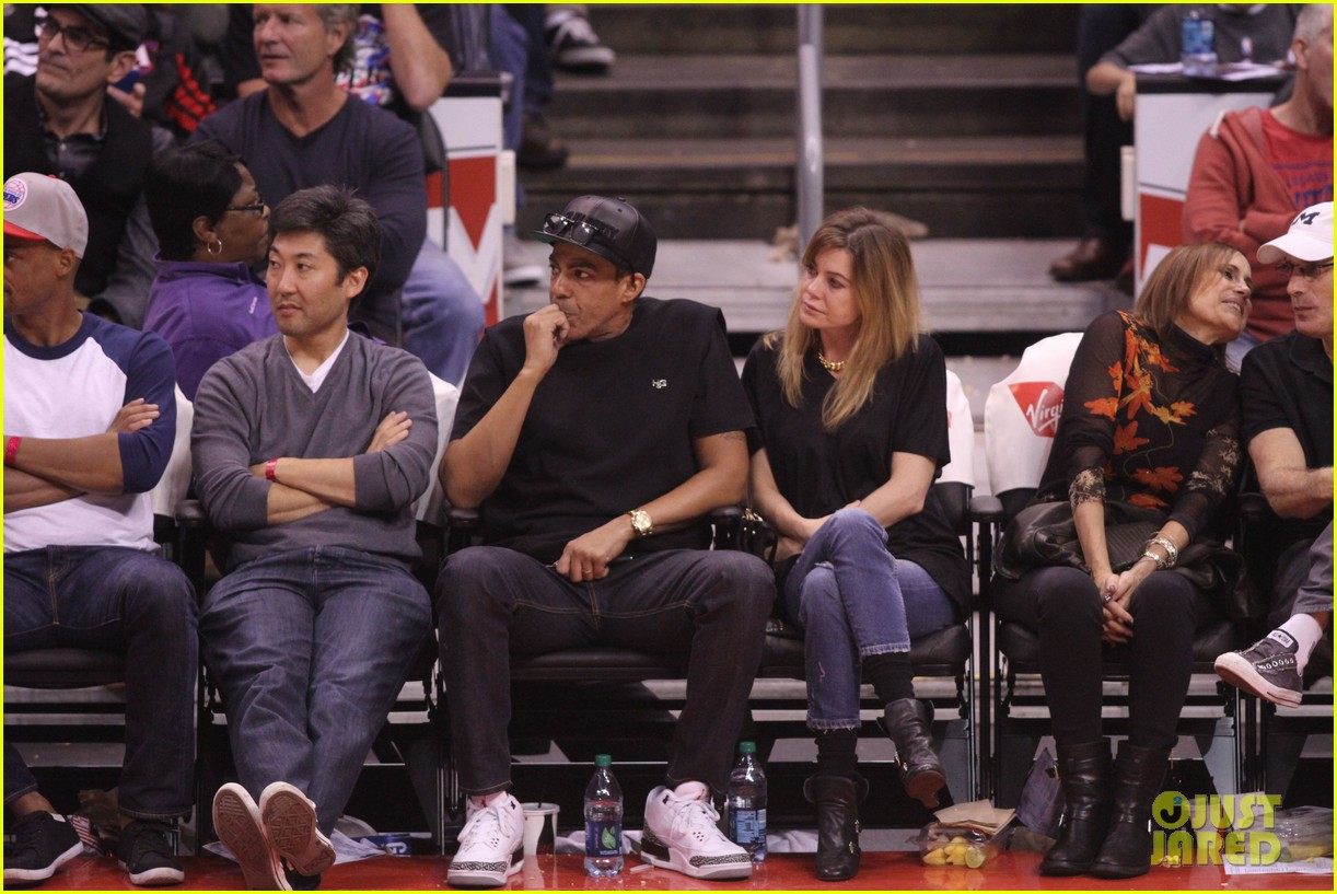 ellen pompeo cheers on the clippers with chris ivery 08