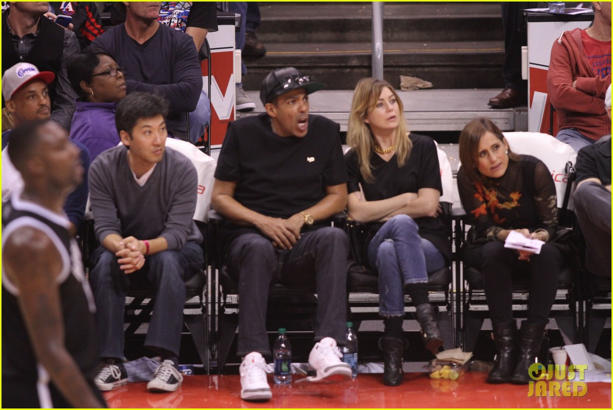 ellen pompeo cheers on the clippers with chris ivery 102995084