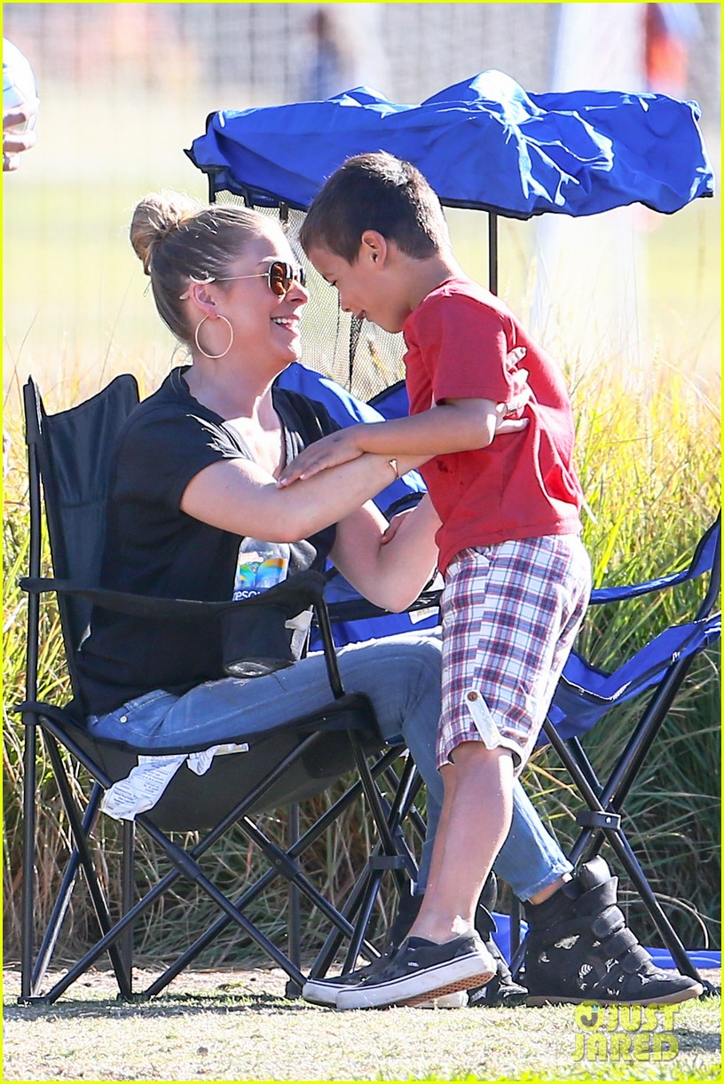 leann rimes soccer game with mason jake 122985230