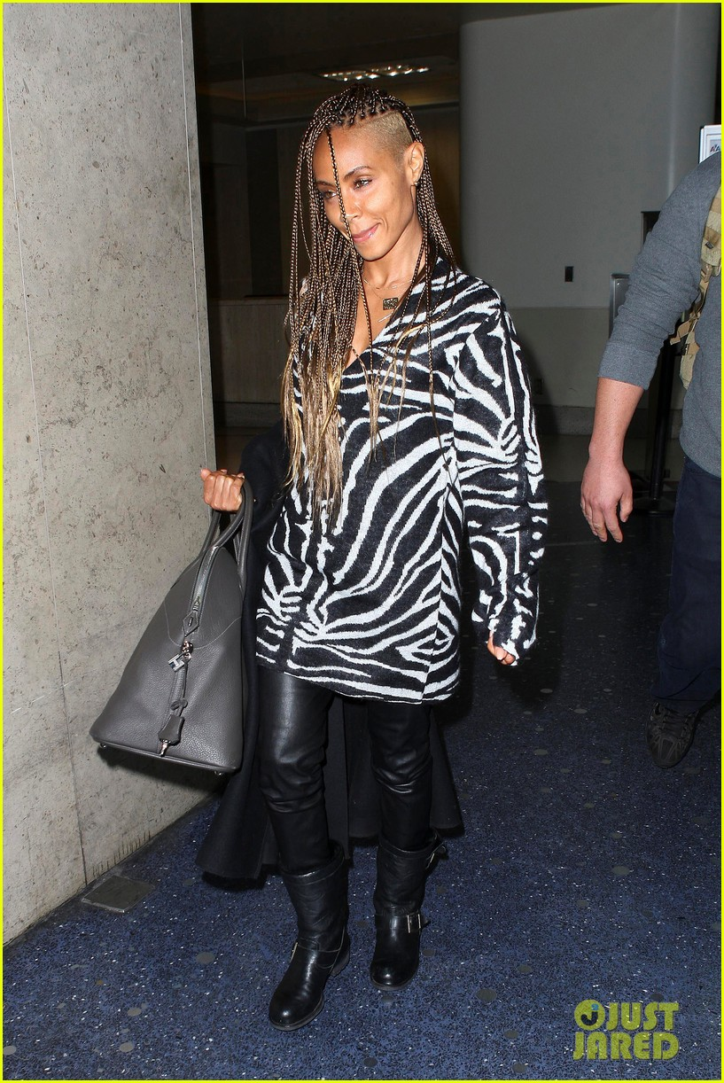 jada pinkett smith long braided hair zeba print at lax 042993242
