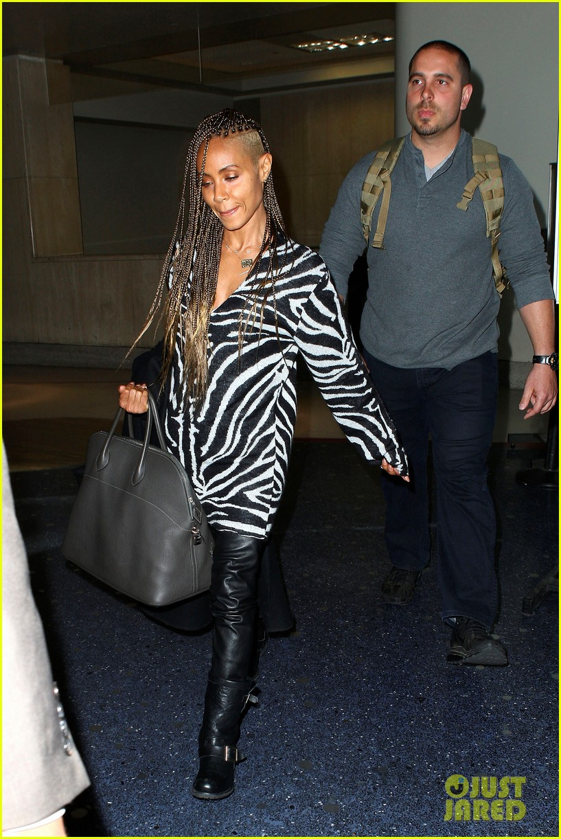 jada pinkett smith long braided hair zeba print at lax 122993250