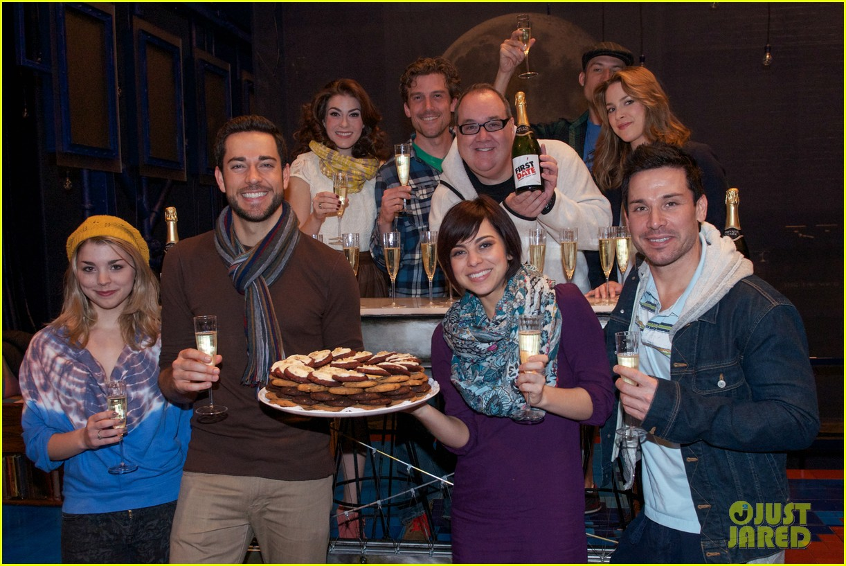 zachary levi krysta rodriguez celebrate 100 first date shows 042985549