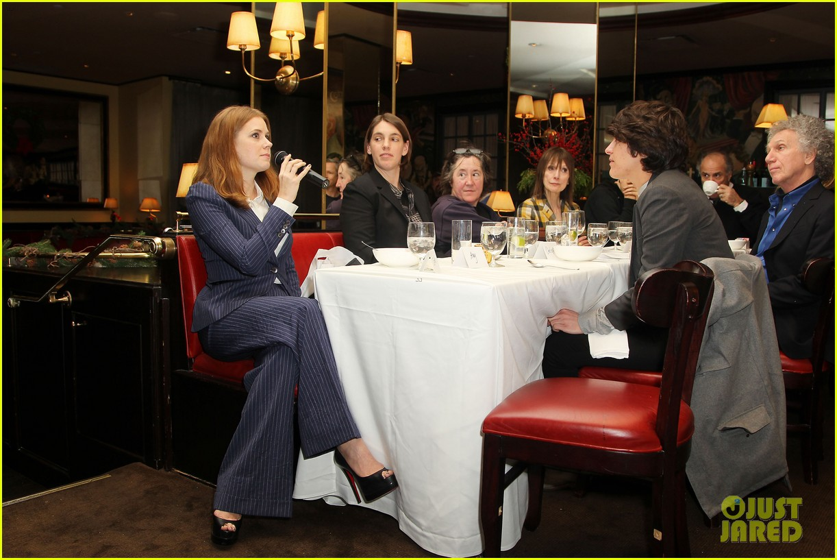 amy adams rocks pinstriped pantsuit at her luncheon 08