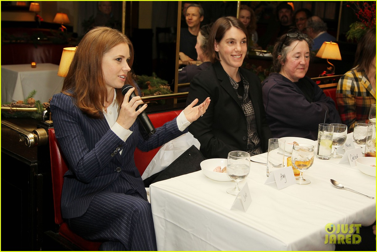 amy adams rocks pinstriped pantsuit at her luncheon 093009173