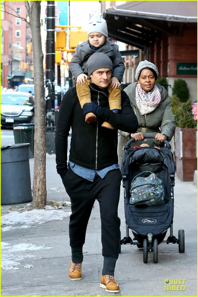 orlando bloom flynn beanie matching father son duo 253013199