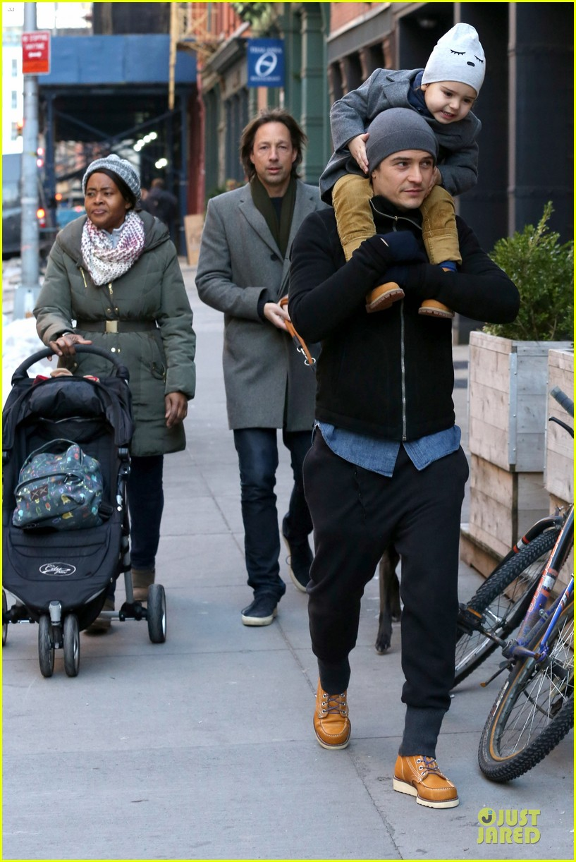 orlando bloom flynn beanie matching father son duo 26