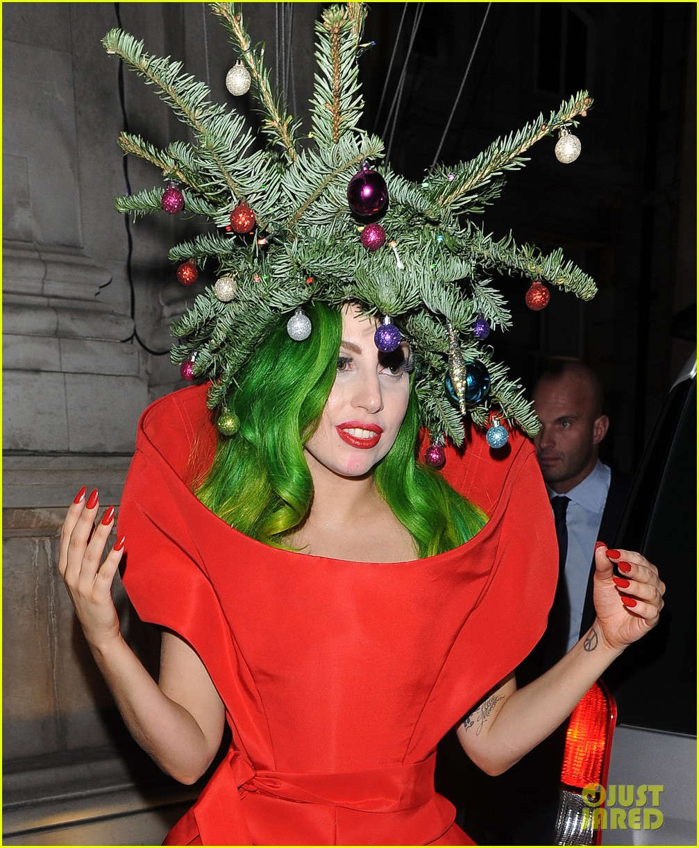 Full Sized Photo Of Lady Gaga Dresses As Christmas Tree After Capital Fm Ball 06 Photo 3007984 Just Jared