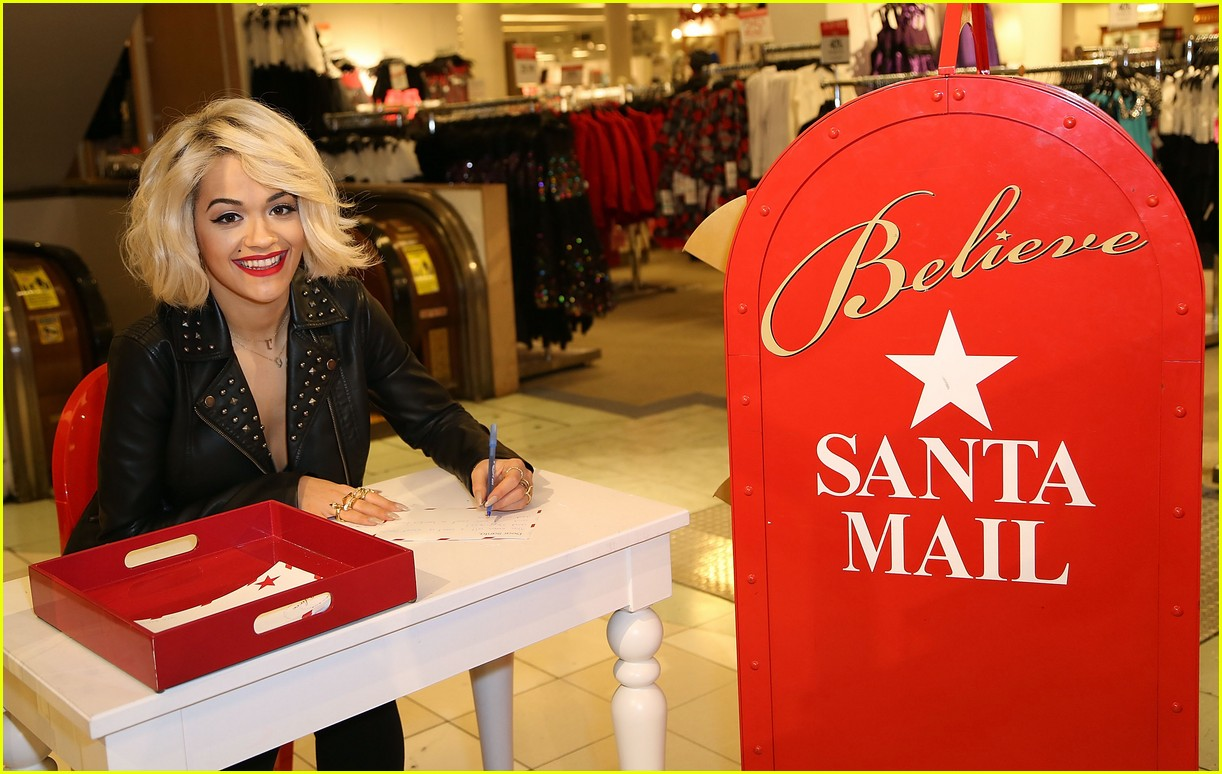 rita ora material girl holiday collection celebration with santa 06