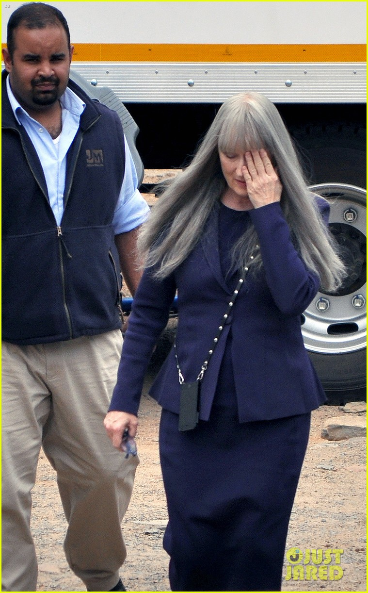 meryl streep wears long gray wig for the giver 01