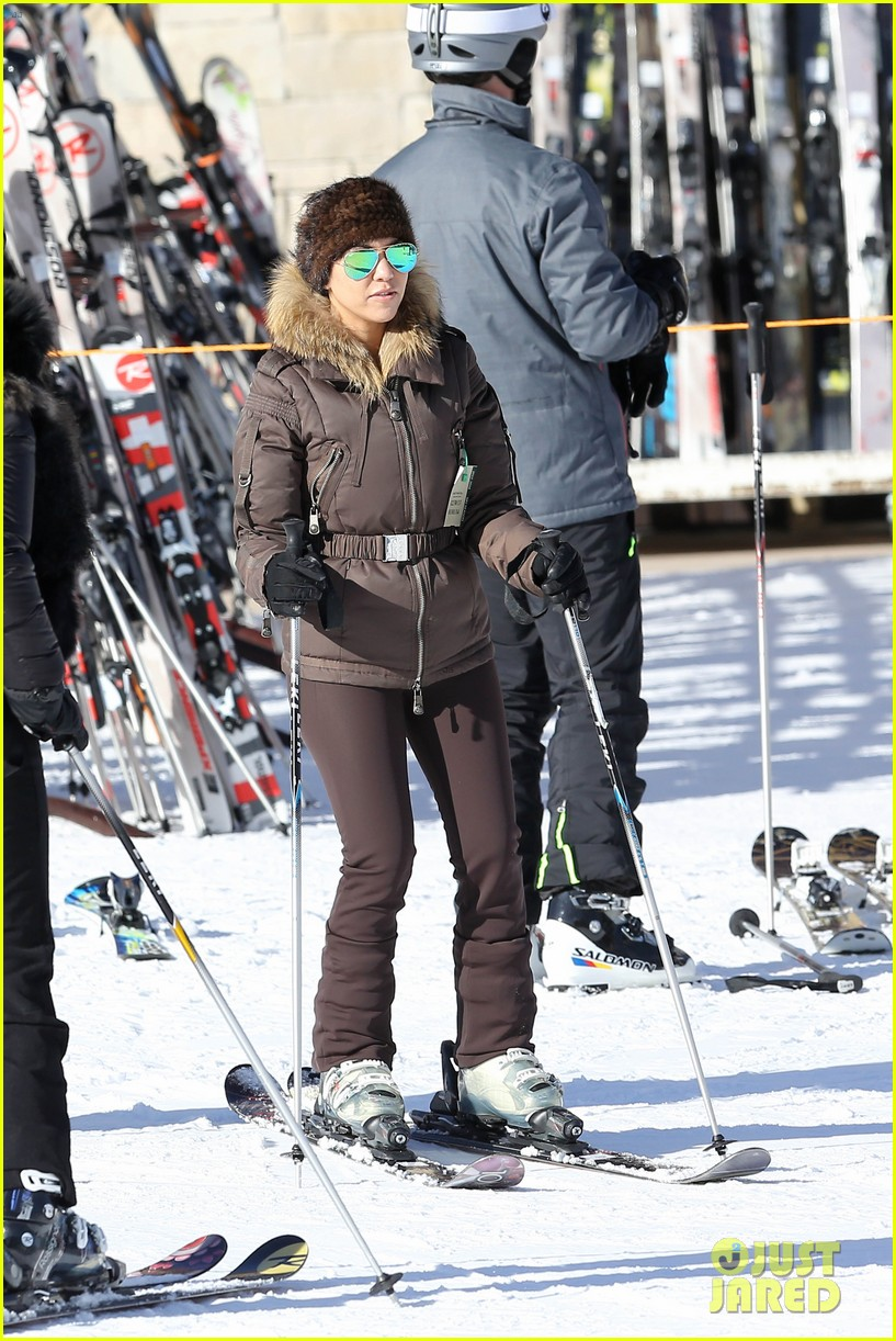 kanye west wears full face mask for skiing with kim kardashian 033019951