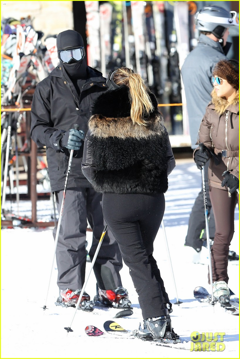 kanye west wears full face mask for skiing with kim kardashian 073019955