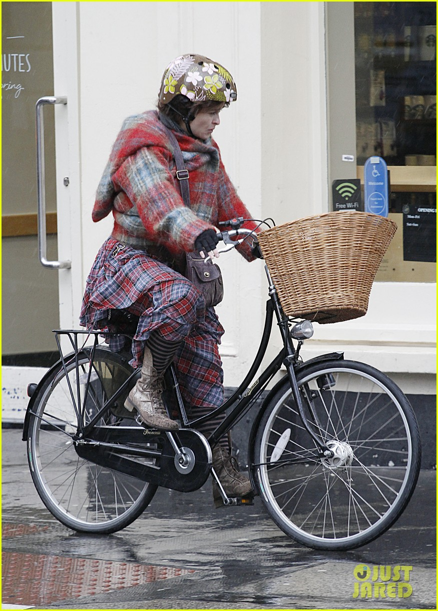helena bonham carter bikes in the rain with son billy 073022110