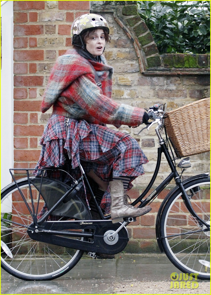 helena bonham carter bikes in the rain with son billy 083022111