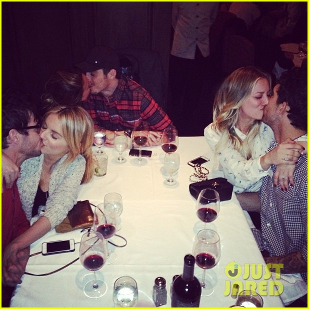 kaley cuoco haylie duff ali fedowski kiss their men at the dinner table 023044155