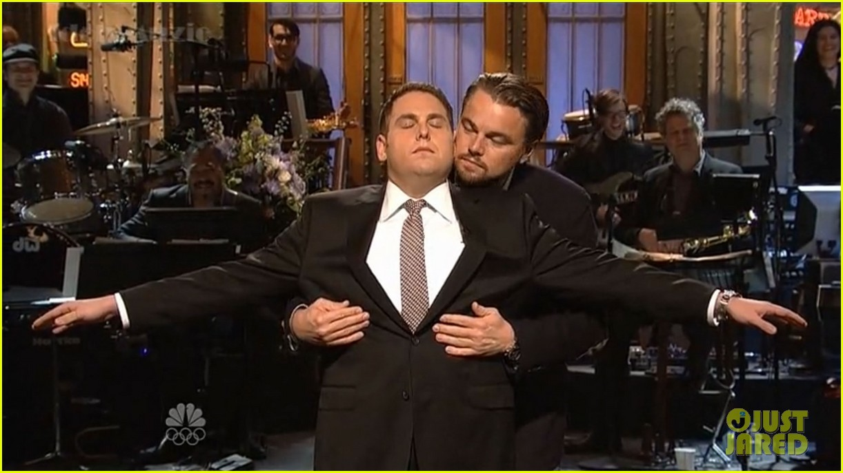 leonardo dicaprio jonah hill recreate titanic scene on snl 02
