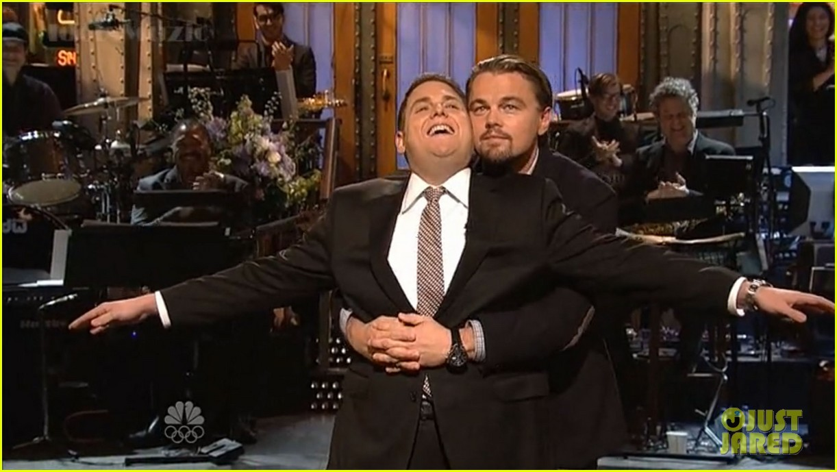 leonardo dicaprio jonah hill recreate titanic scene on snl 043040358