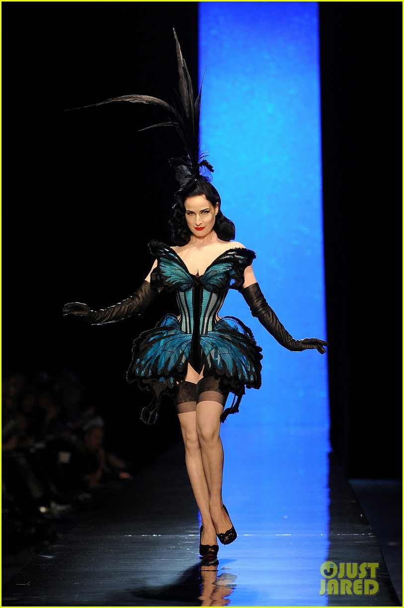 dita von teese hits runway for john paul gaultier show 01
