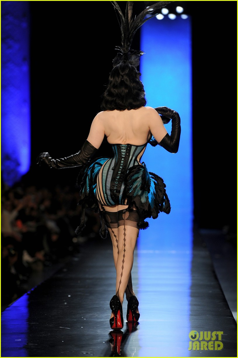 dita von teese hits runway for john paul gaultier show 08