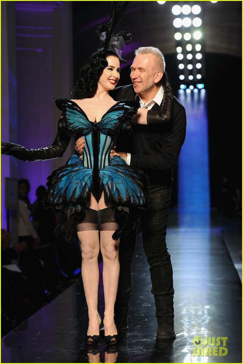 dita von teese hits runway for john paul gaultier show 10