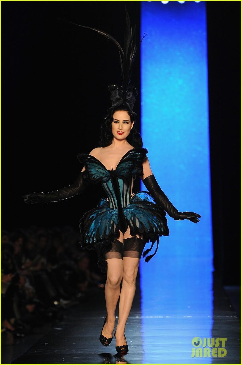 dita von teese hits runway for john paul gaultier show 13