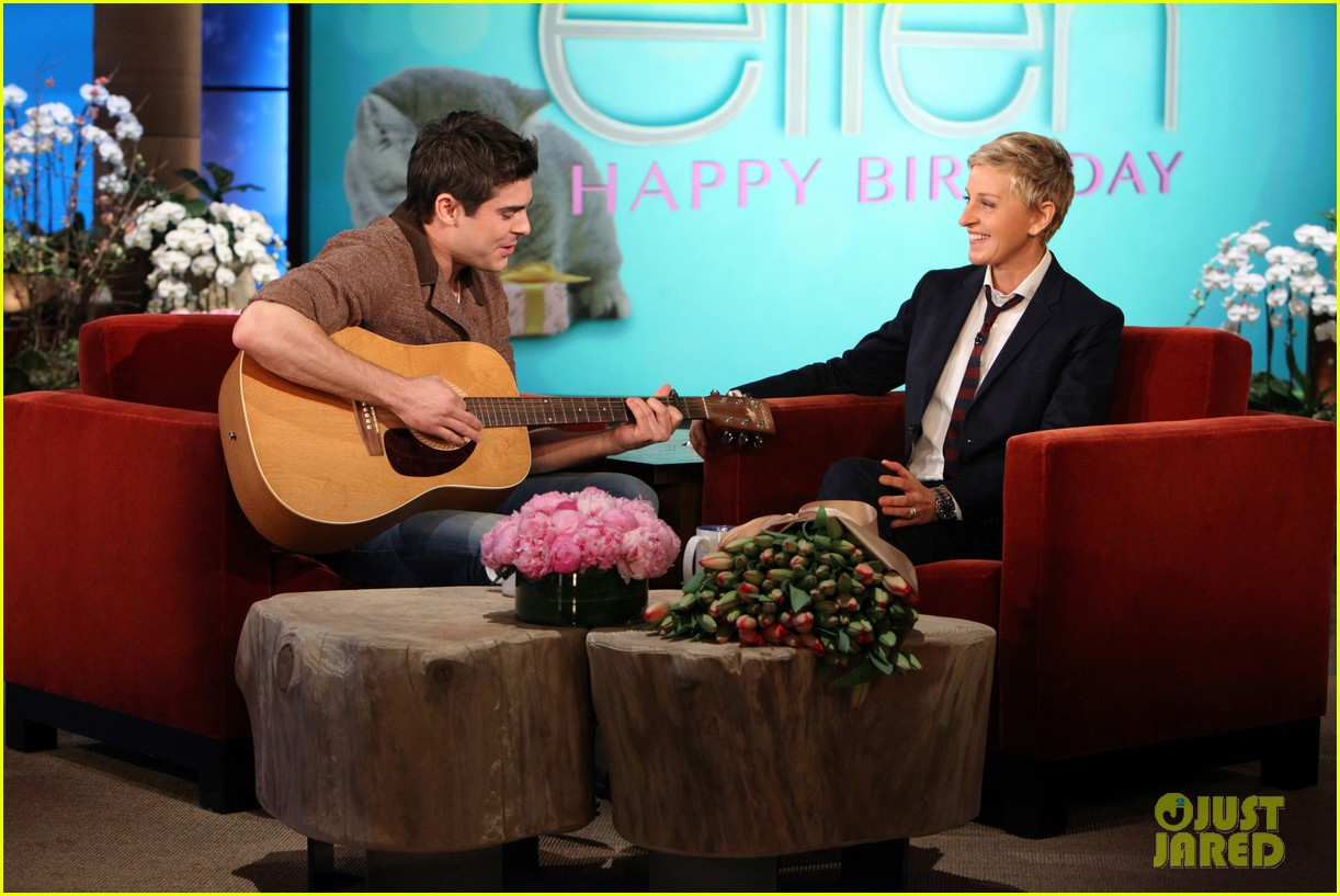 zac efron sings plays guitar for ellen degeneres birthday watch now 043044313