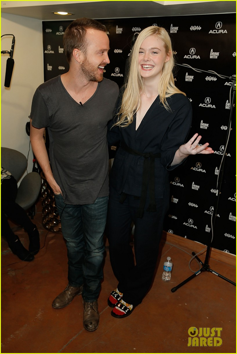 elle fanning aaron paul meet up at varietys sundance studio 22