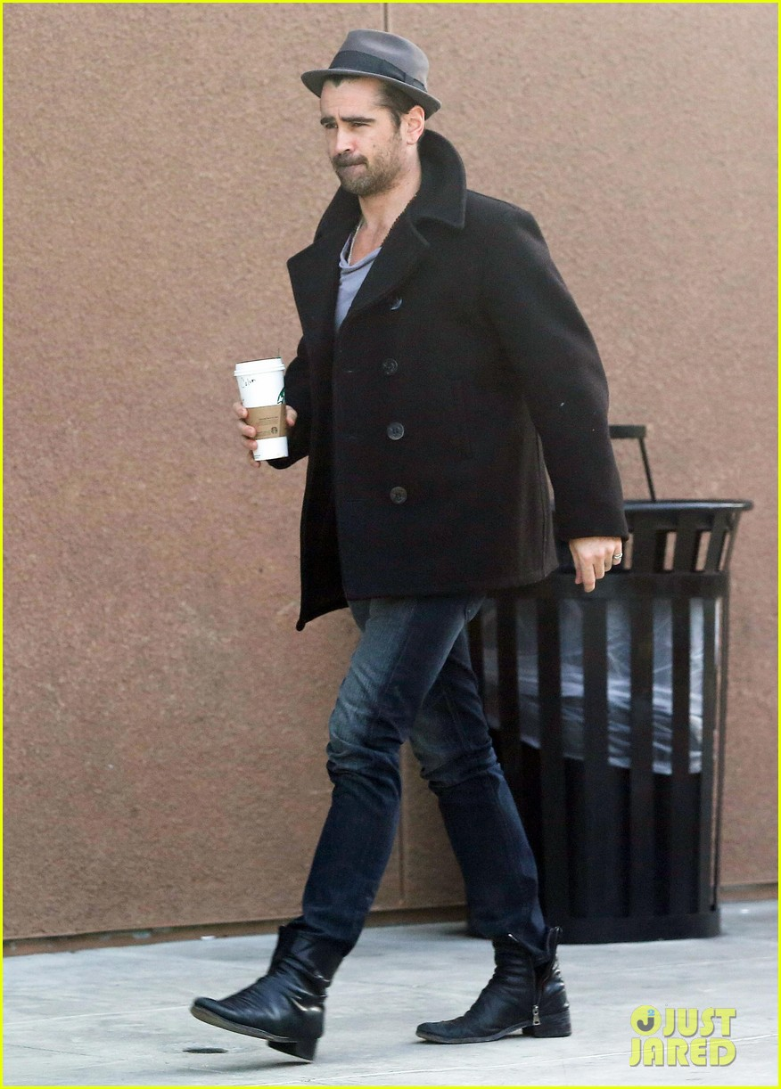 colin farrell wears his fedora peacoat for coffee run 063039341
