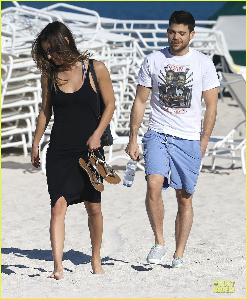 jerry ferrara shirtless miami beach lounging with girlfriend 123036119