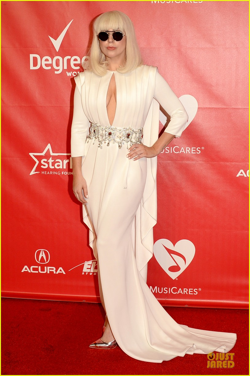 lady gaga white cut out dress at musicares gala 2014 013039696