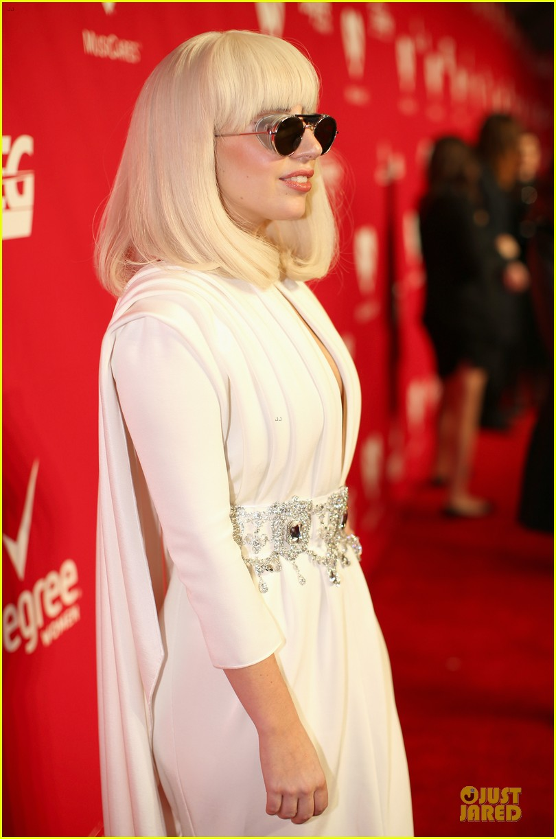lady gaga white cut out dress at musicares gala 2014 093039704