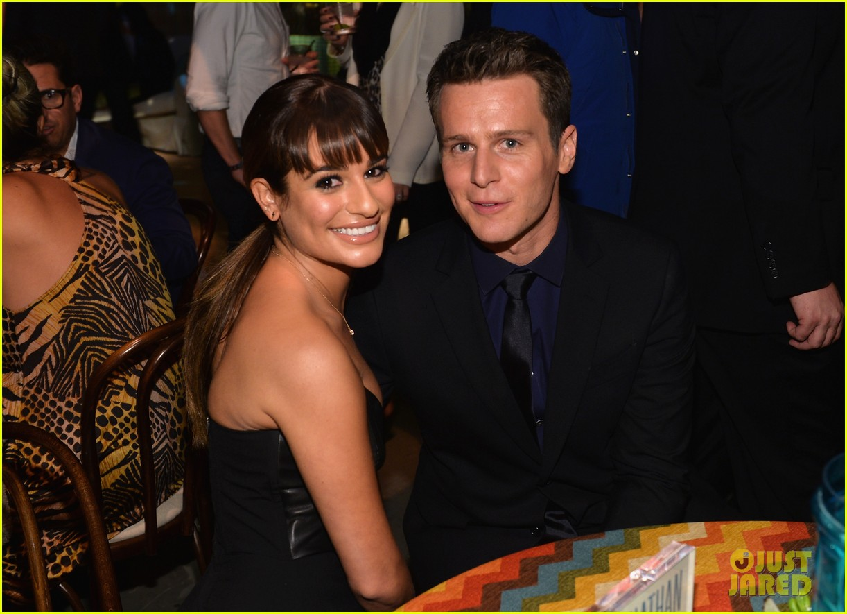jonathan groff lea michele looking hollywood premiere 04