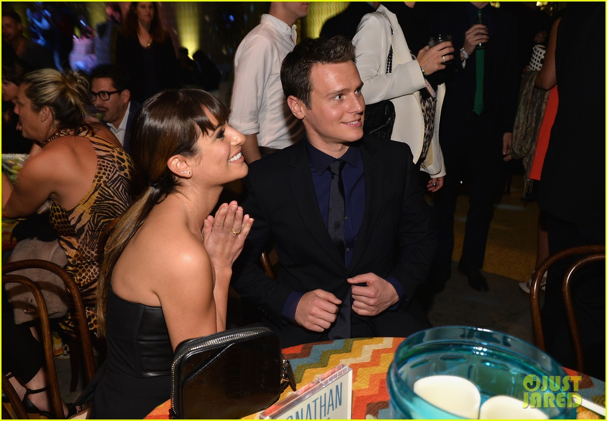jonathan groff lea michele looking hollywood premiere 163032478