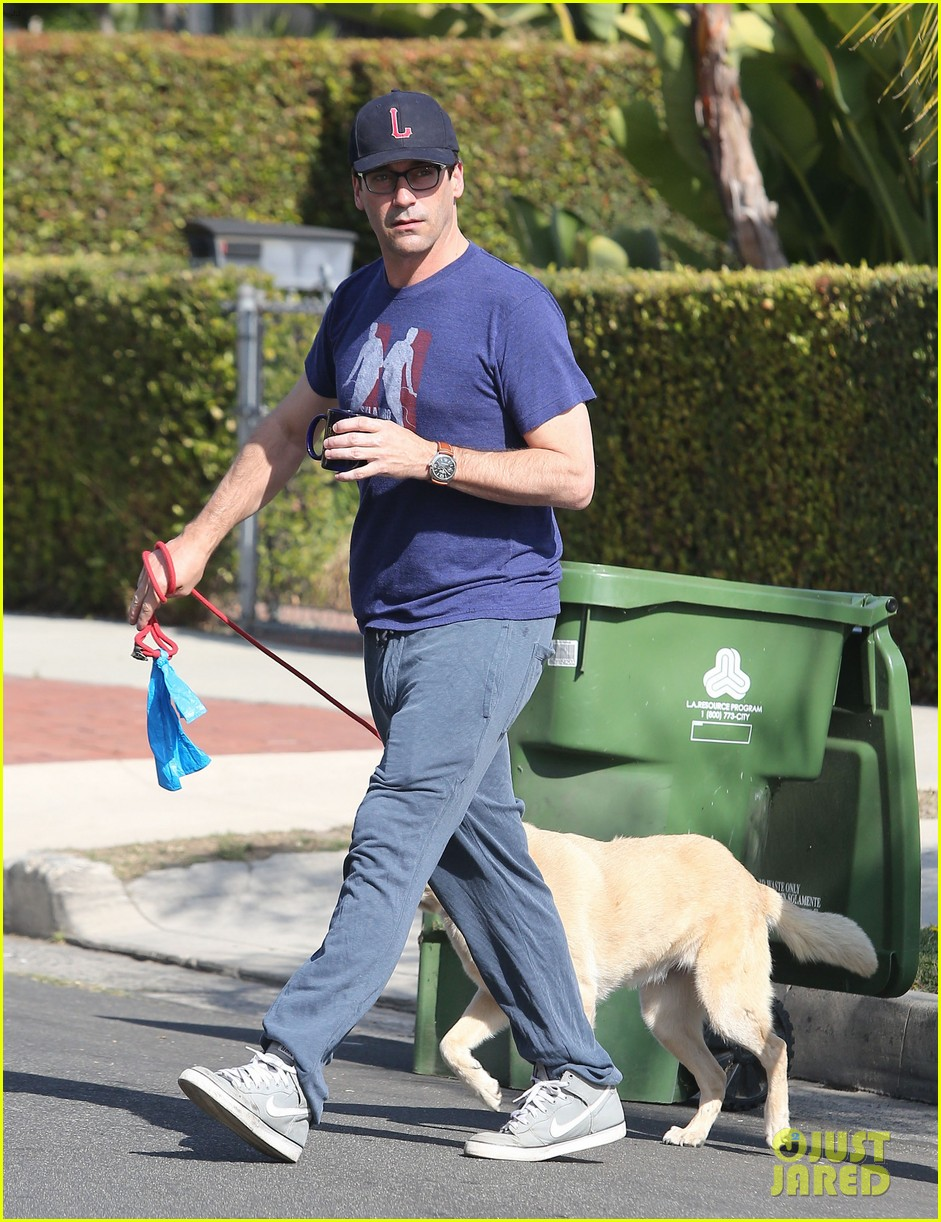 jon hamm stays comfy in sweatpants for morning dog walk 143038632