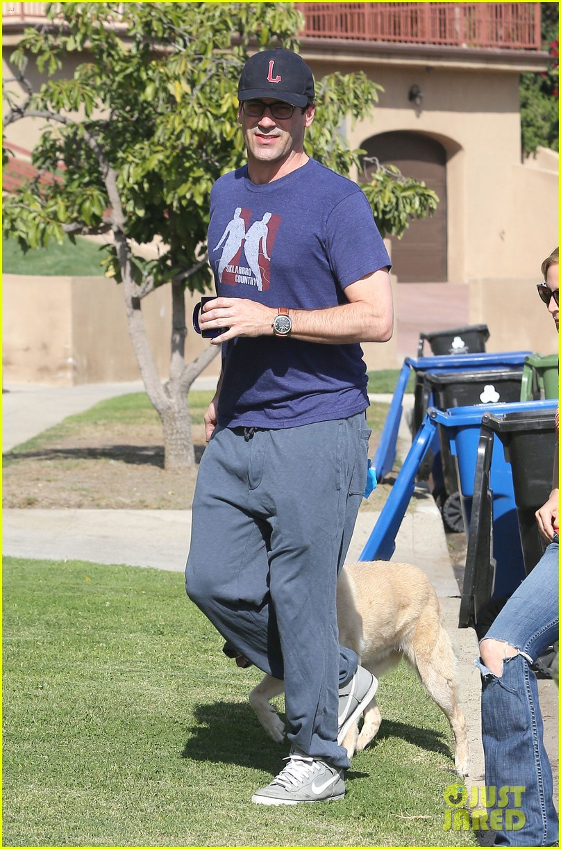 jon hamm stays comfy in sweatpants for morning dog walk 17