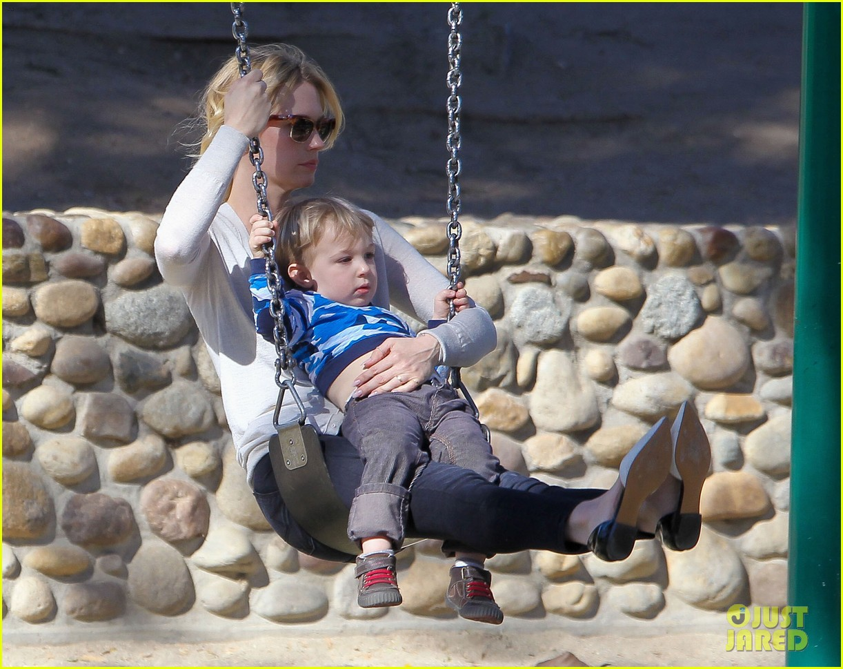 january jones joins instagram rides swings with xander 043039062