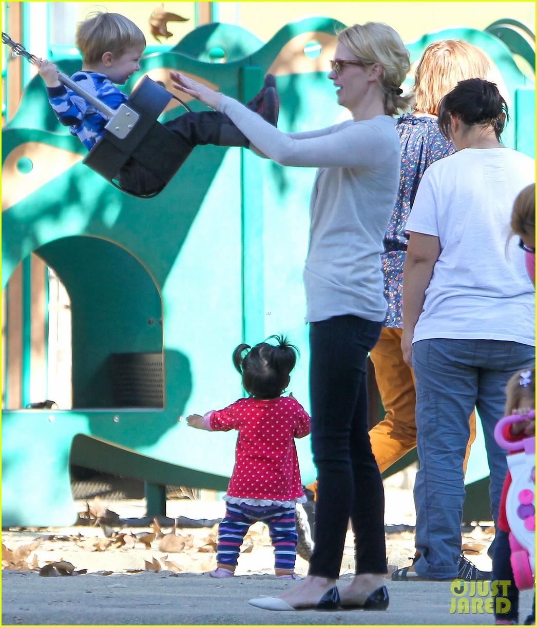january jones joins instagram rides swings with xander 05