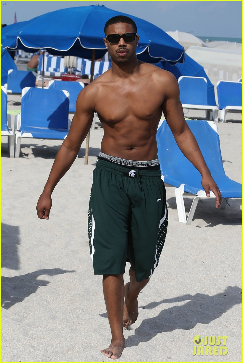 michael b jordan shirtless beach stroll with mystery girl 103040215