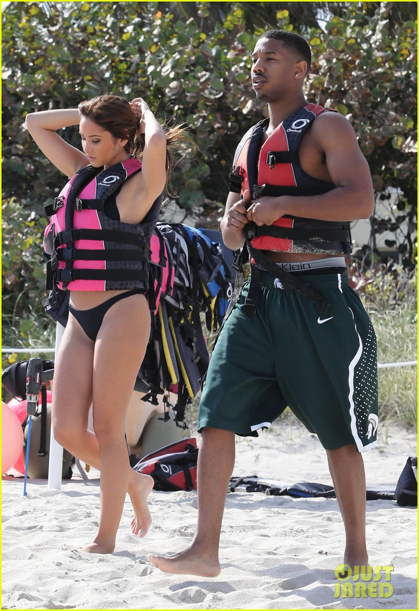 michael b jordan shirtless beach stroll with mystery girl 12