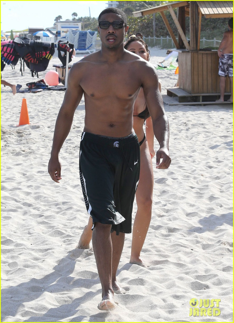 michael b jordan shirtless beach stroll with mystery girl 283040233