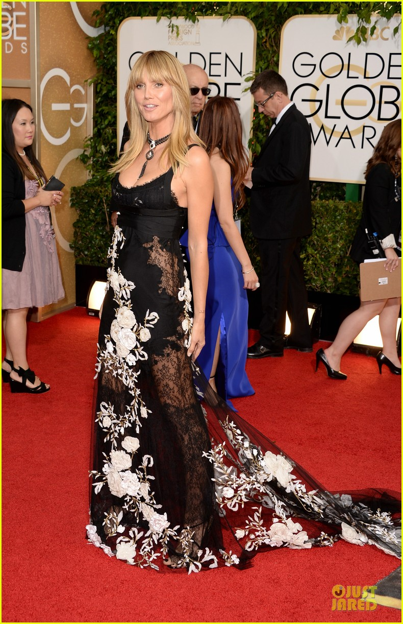 heidi klum golden globes 2014 red carpet 01