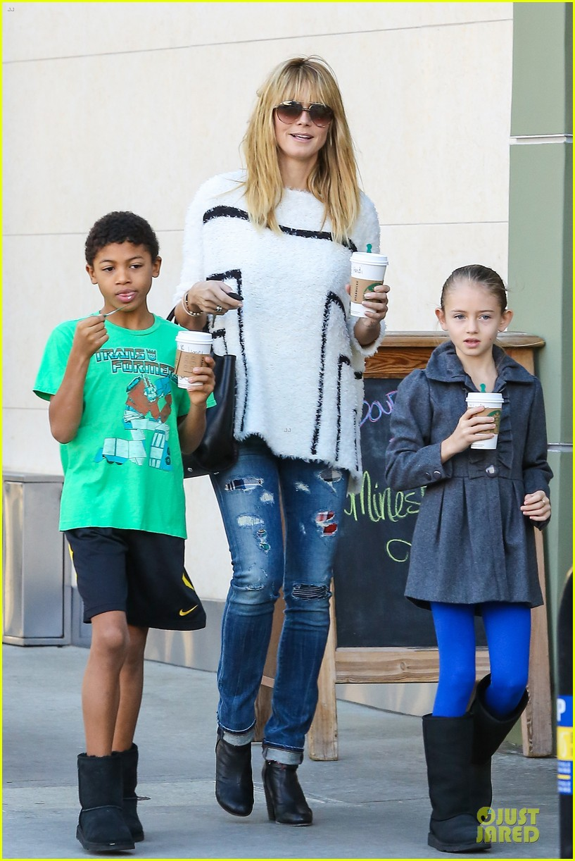 heidi klum grabs coffee before jag gym stop with the kids 01