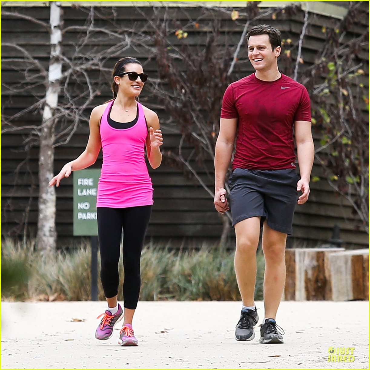 lea michele stretches with jonathan groff during hike 223039729