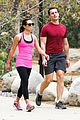 lea michele stretches with jonathan groff during hike 18