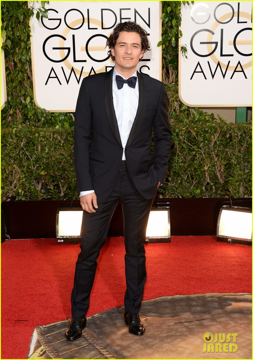 orlando bloom golden globes 2014 red carpet 053029402