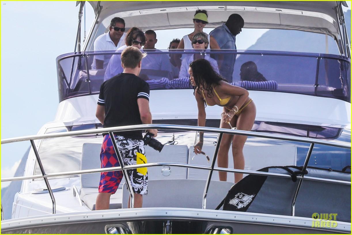 rihanna gold bikini beach babe in brazil 23