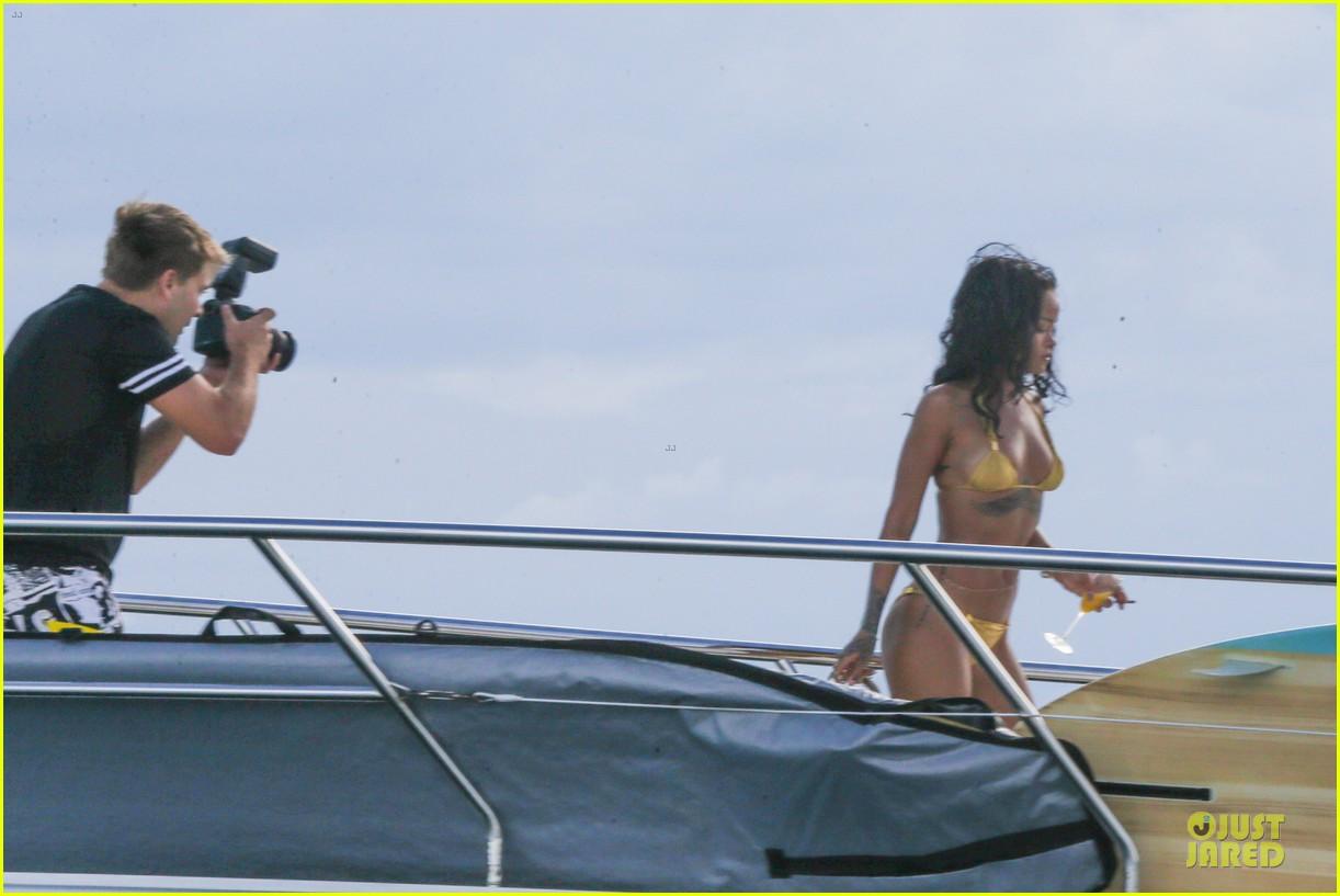 rihanna gold bikini beach babe in brazil 30