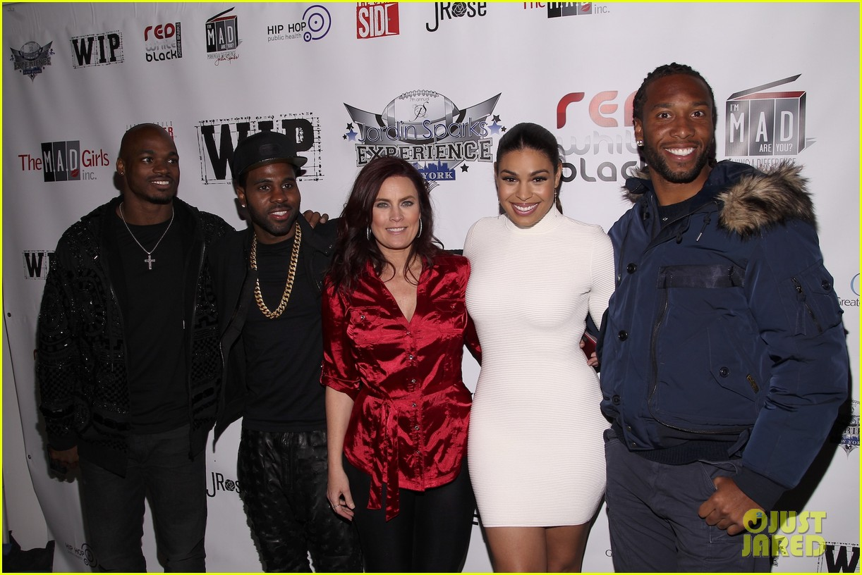 jordin sparks jason derulo red white black super bowl party 01